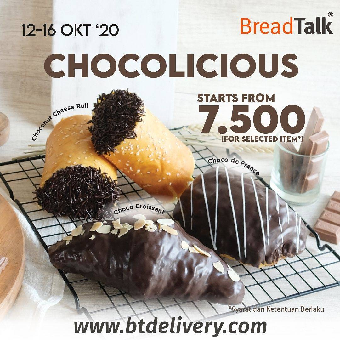 Diskon Bread Talk Promo Chocolicious Start From Rp. 7.500 For Selected Items