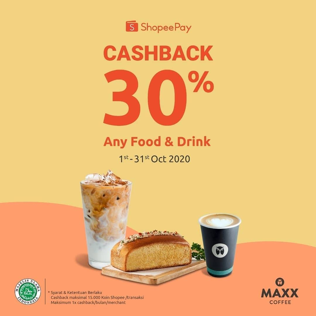 Diskon Maxx Coffee Cashback 30% Dengan Shopeepay