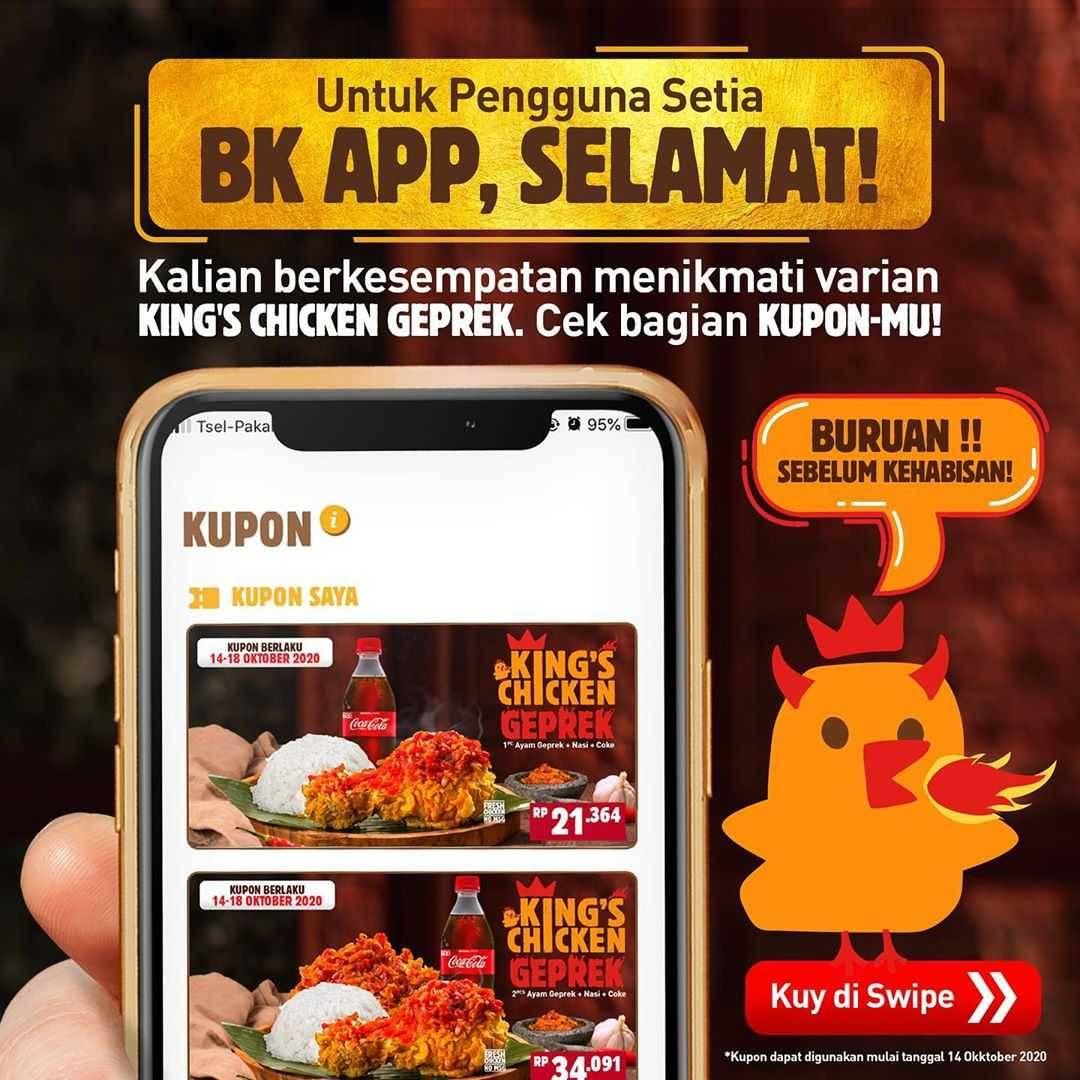 Promo diskon Burger King Kupon King's Chicken Geprek