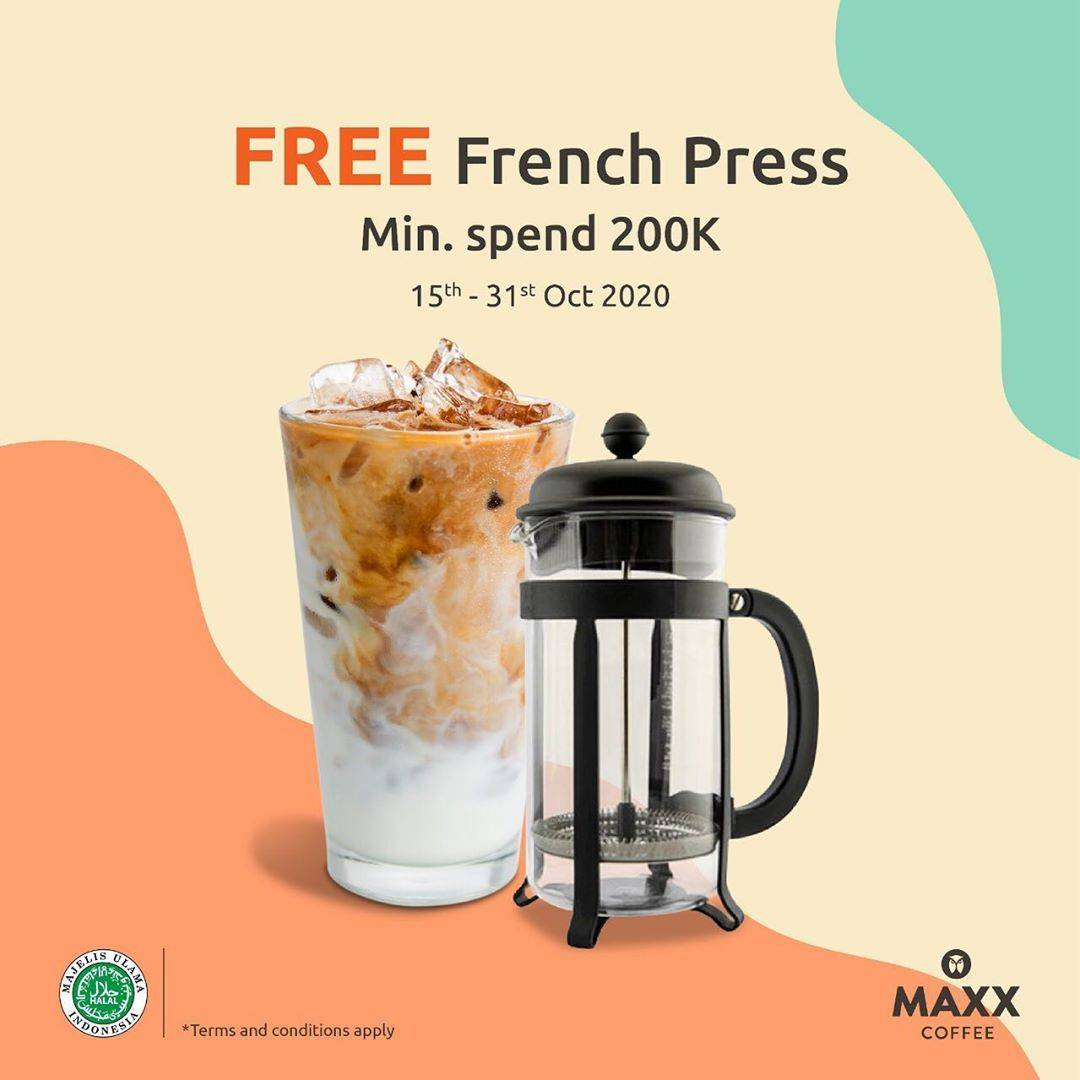 Diskon Maxx Coffee Promo Free French Press