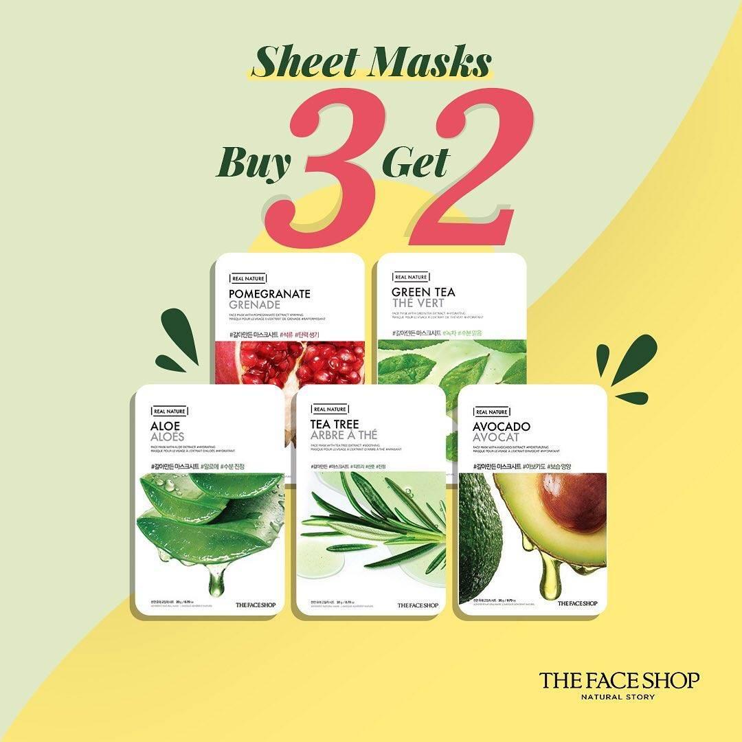 Diskon The Face Shop Buy 3 Get 2 Sheet Masks