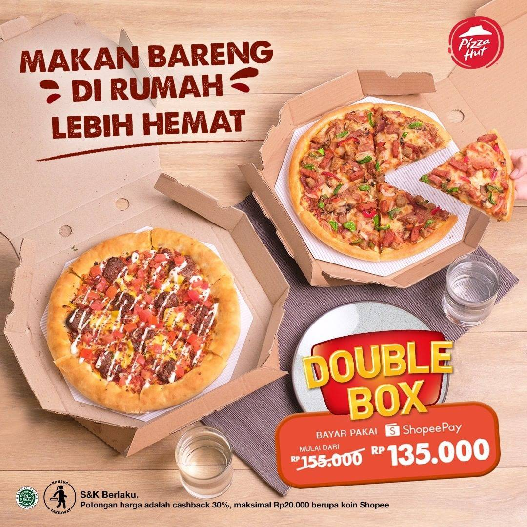 Diskon Pizza Hut Promo Double Box Hanya Rp. 135.000 Dengan Shopeepay
