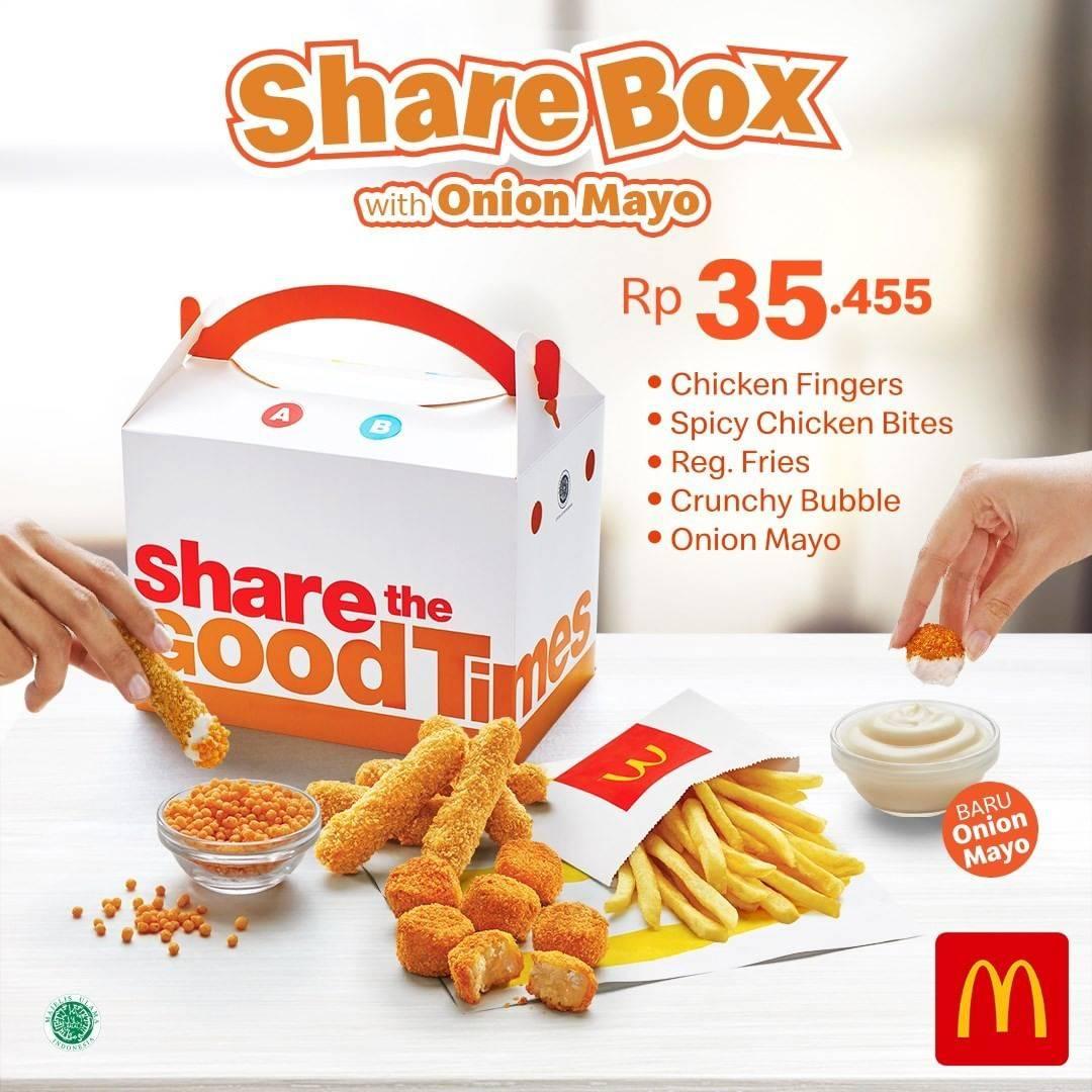 Diskon McDonalds Promo Share Box With Onion Mayo Hanya Rp. 35.455