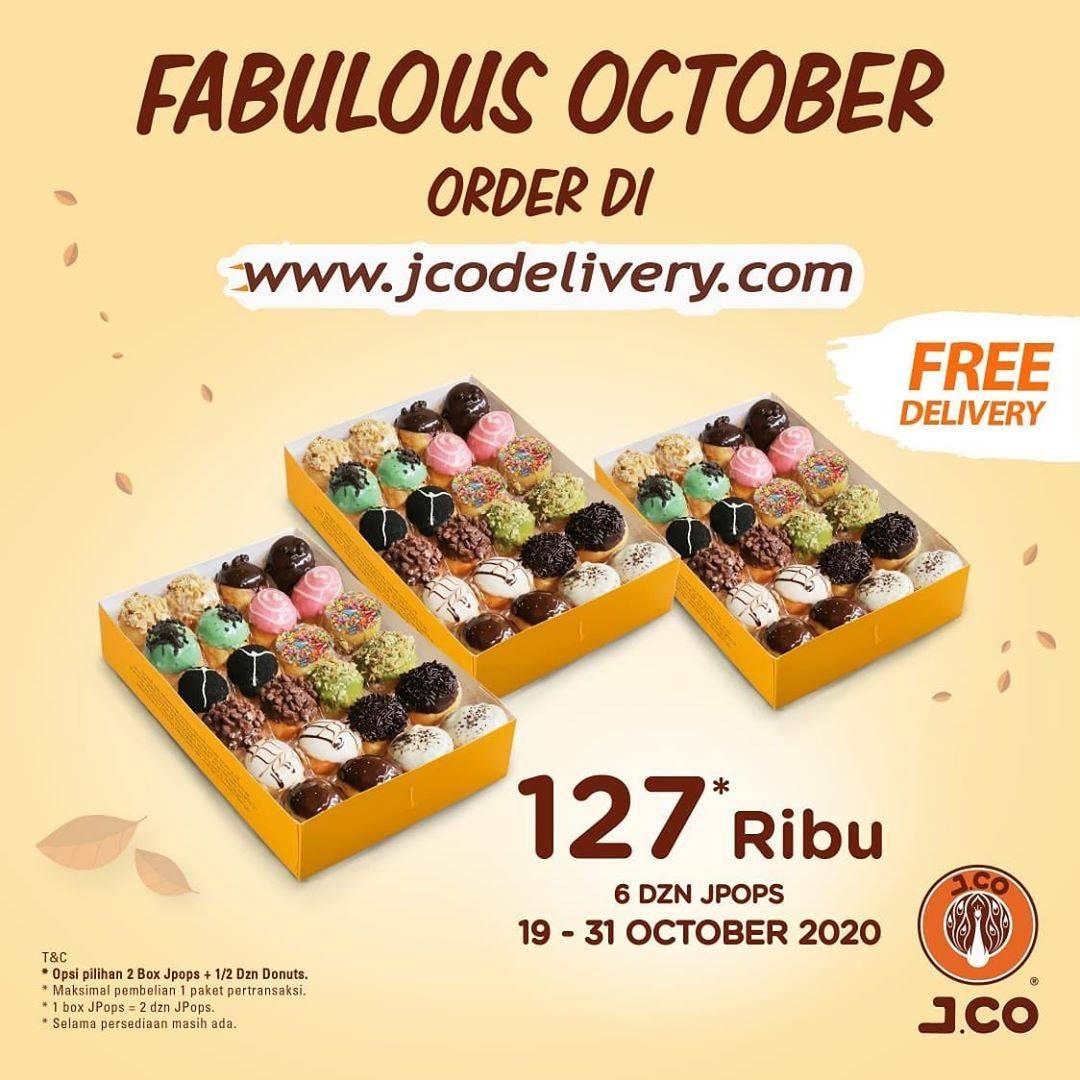 Diskon J.CO Promo Fabulous October - 6 Dzn JPops Hanya Rp. 127.000