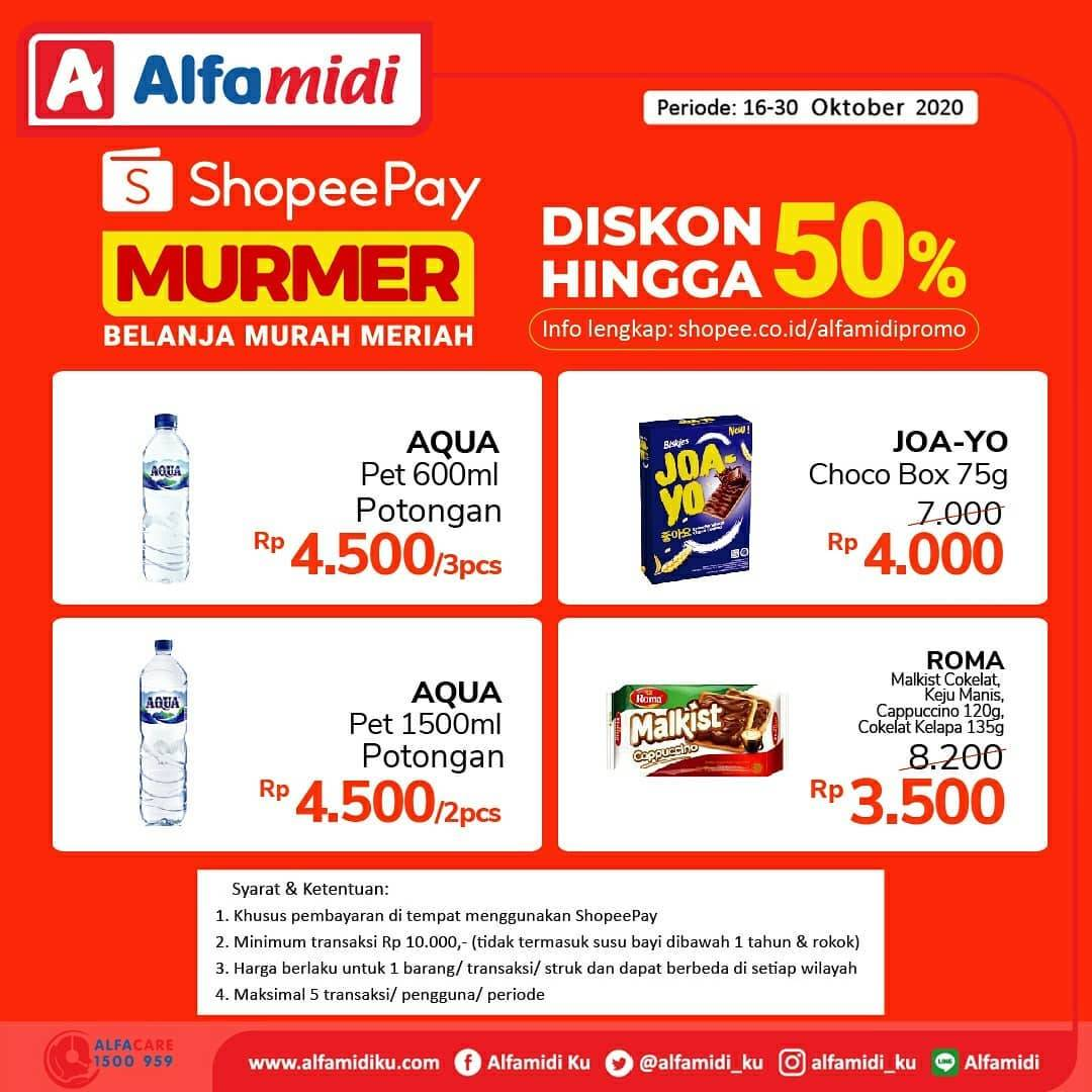 Diskon Katalog Promo Alfamidi Shopeepay Murmer 50% Periode 16 - 30 Oktober 2020