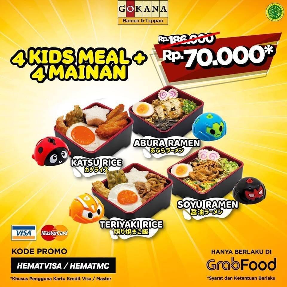 Diskon Gokana Promo 4 Kids Meal + 4 Mainan Hanya Rp. 70.000 Di GrabFood