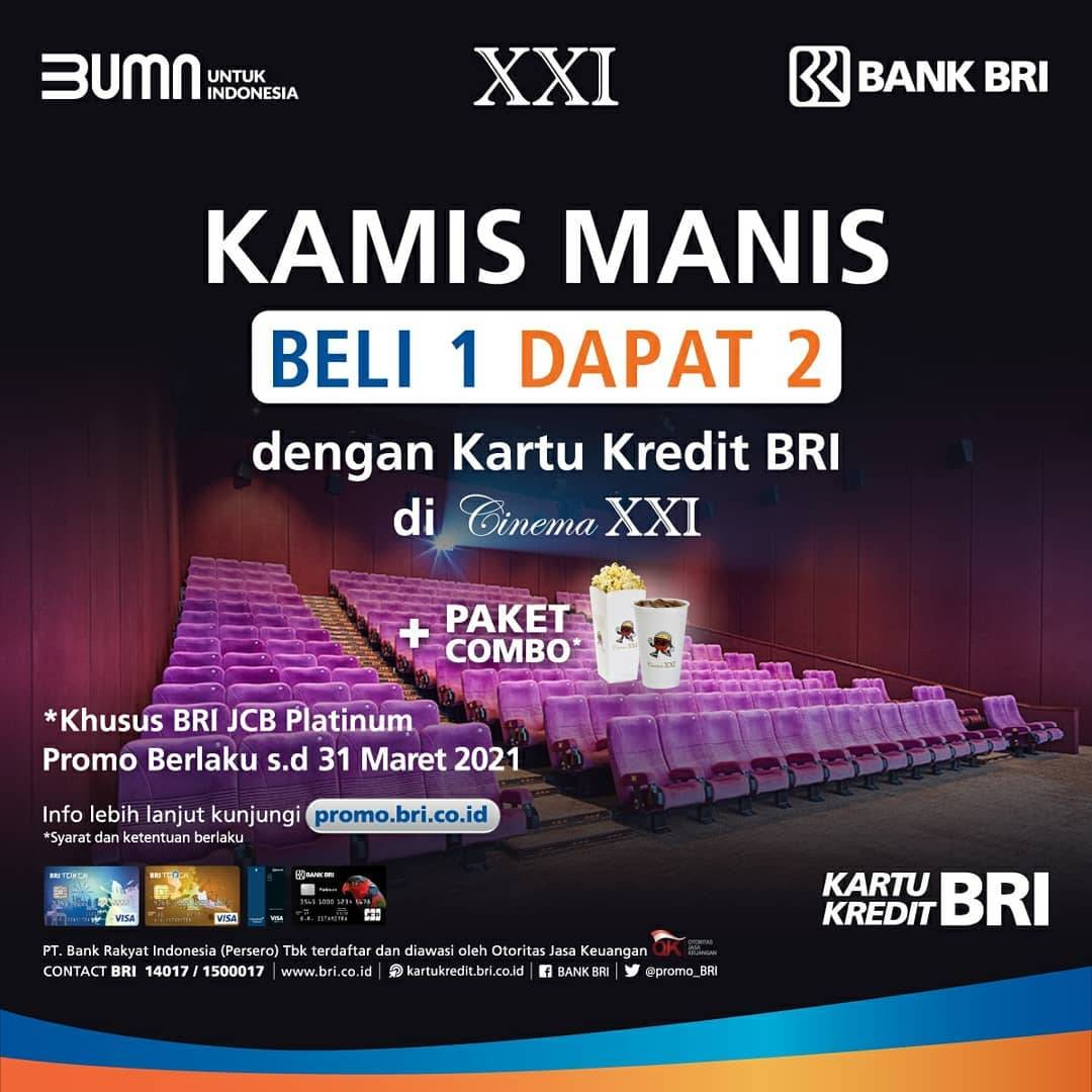 Diskon XXI Promo Bank BRI - Beli 1 Gratis 1 Tiket + Paket Combo