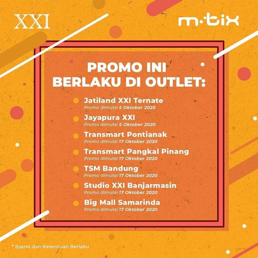 Promo diskon XXI Promo Beli 2 Tiket Di M-Tix Gratis Voucher Diskon M-Food Rp. 30.000