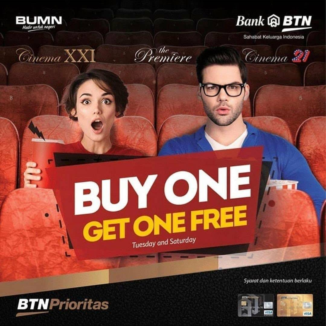 Diskon XXI Buy 1 Get 1 Free With BTN Debit Card