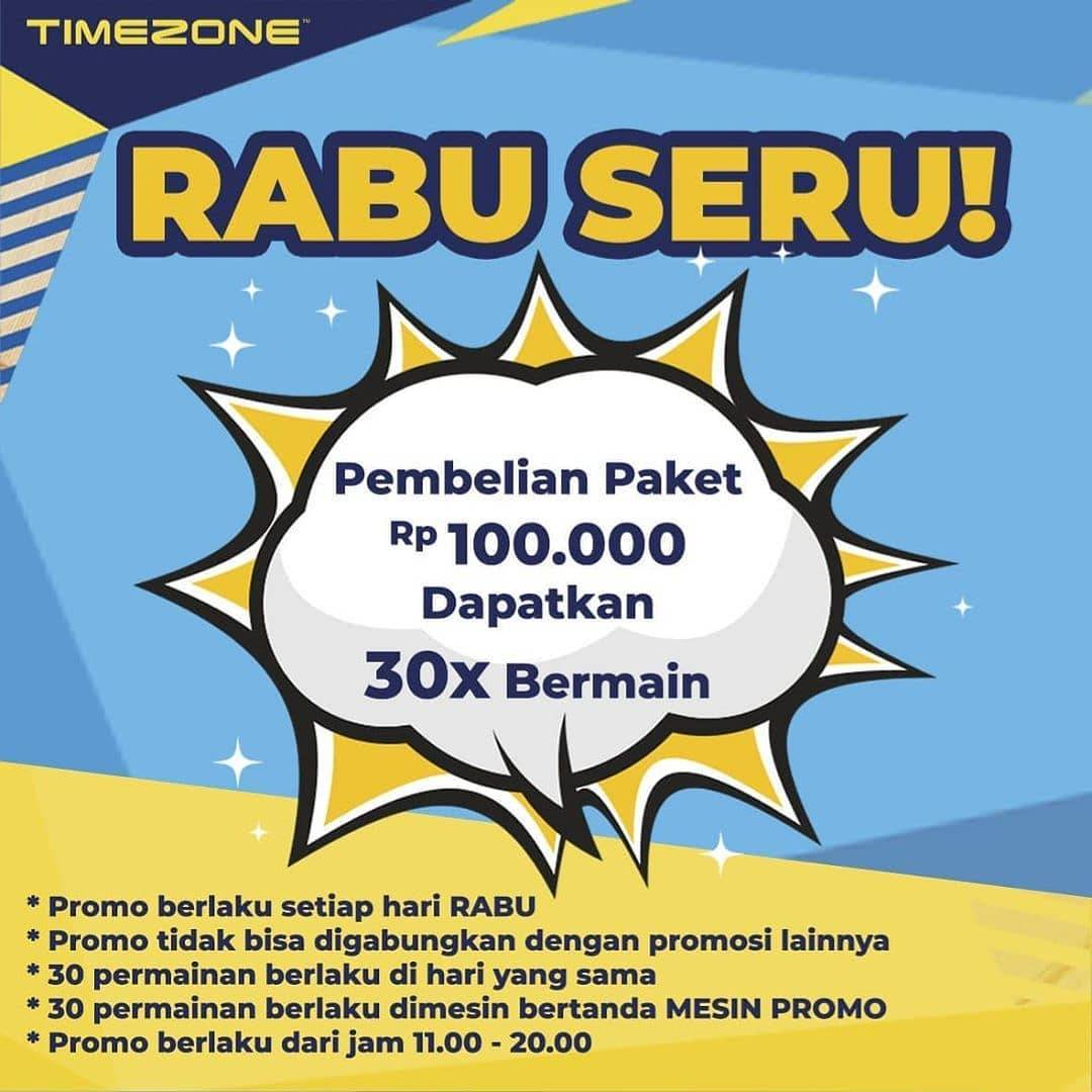 Diskon Timezone Promo Rabu Seru - Beli Paket Rp. 100.000 Dapatkan 30x Bermain