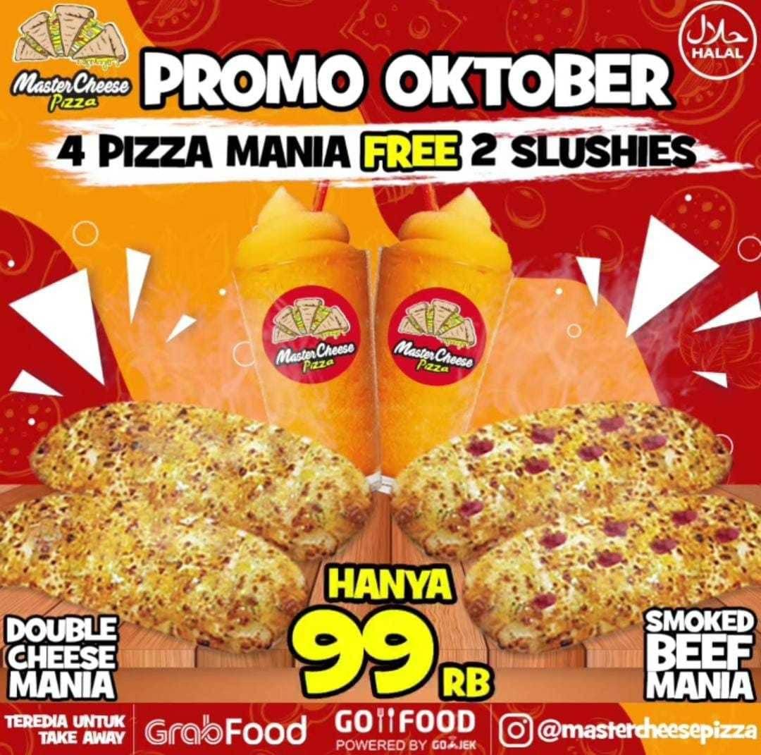 Diskon Mastercheese Pizza Promo Oktober - 4 Pizza Mania Free 2 Slushies