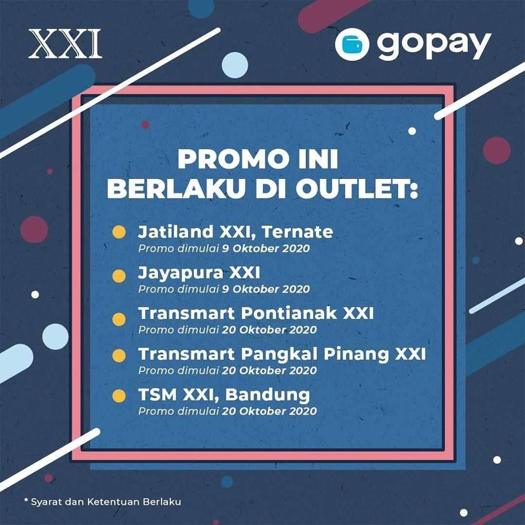 Promo diskon XXI Cashback 30% Tiket Nonton Untuk Transaksi Dengan Gopay