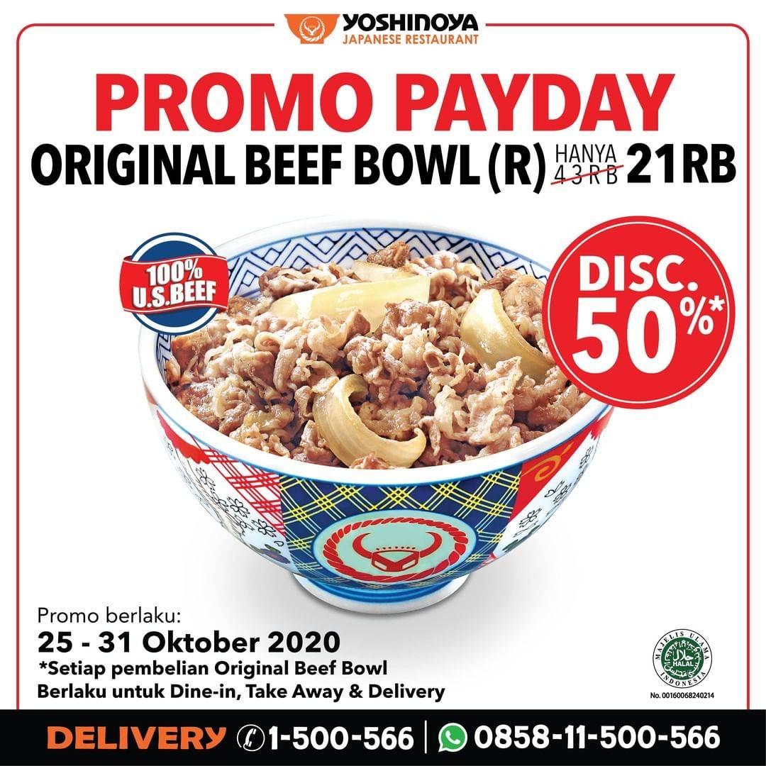 Diskon Yoshinoya Promo Payday - Diskon 50% For Original Beef Bowl