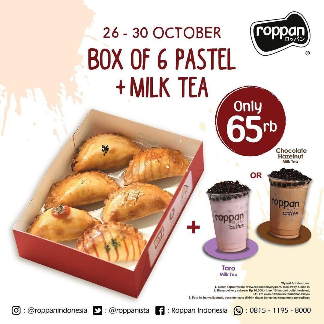 Diskon Roppan Promo Box Of 6 Pastel + Milk Tea Only Rp. 65.000