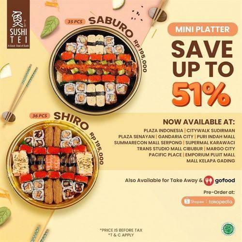 Diskon Sushi Tei Promo Mini Platter Saburo & Shirp Save Up to 51%