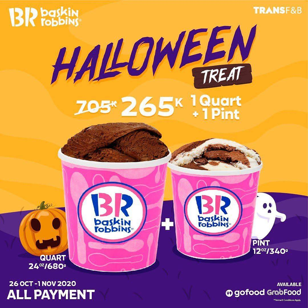 Diskon Baskin Robbins Promo Halloween Treat Hanya Rp. 265.000 1 Quart + 1 Pint