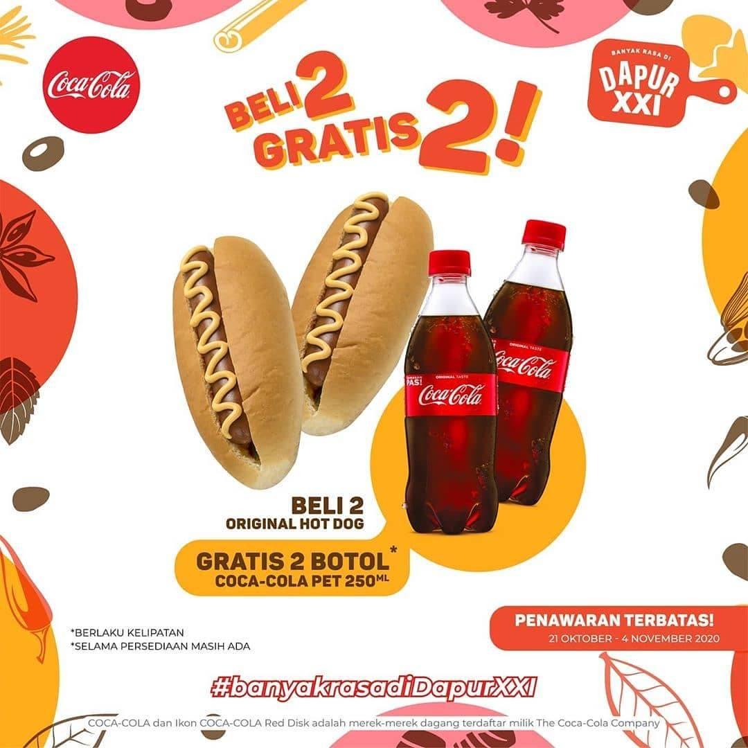 Diskon XXI Promo Beli 2 Hot Dog Gratis 2 Coca Cola Pet 250ml