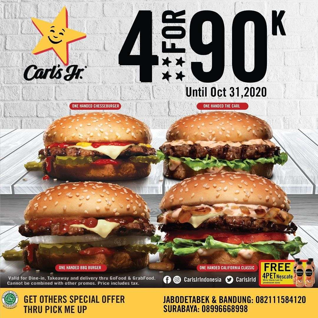 Diskon Carls JR Promo 4 Burgers Only For Rp. 90.000