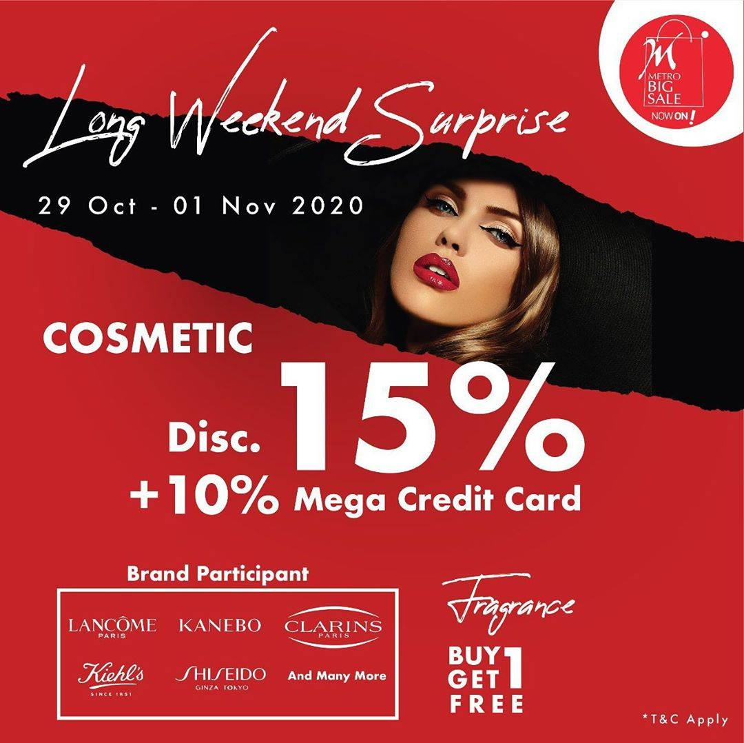 Diskon Metro Department Store Promo Cosmetics Discount 15% + 10% With Mega Credit Card