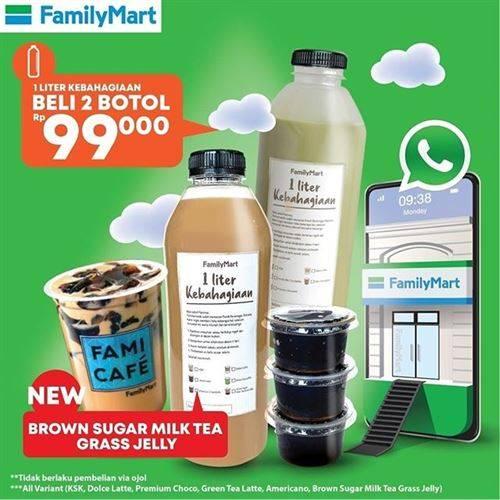 Diskon Family Mart Promo 1 Liter Kebahagiaan 2 Botol 99k