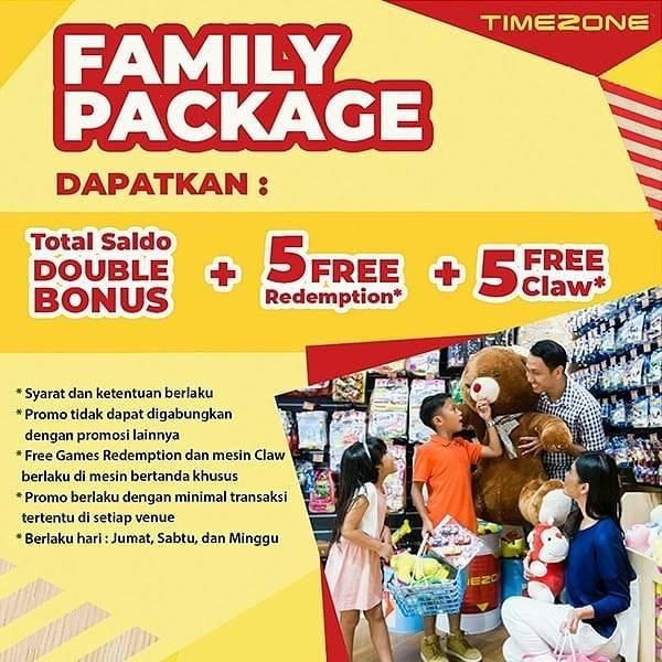Diskon Timezone Promo Family Package - Bonus Saldo + Free 5 Redemption & 5 Claw