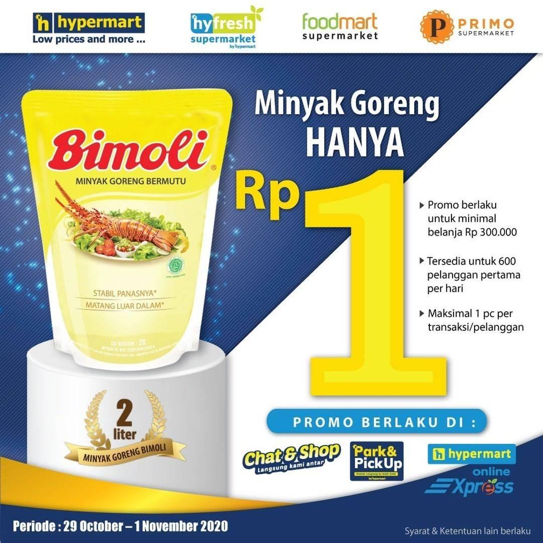 Diskon Hypermart Promo Minyak Goreng Bimoli Hanya Rp. 1