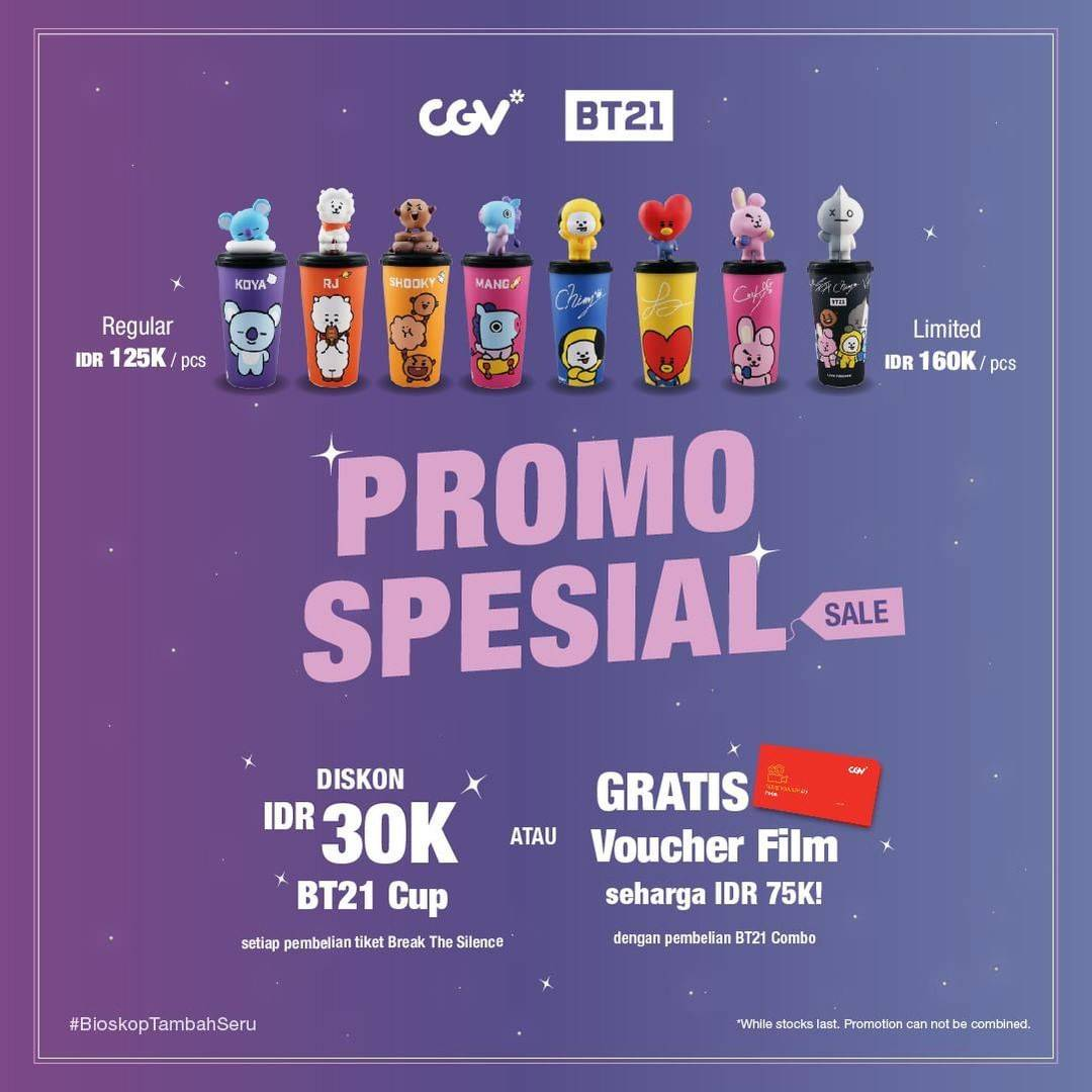 Diskon CGV Promo Spesial Diskon Rp. 30.000  Untuk Tumbler BT21 + Gratis Voucher Film