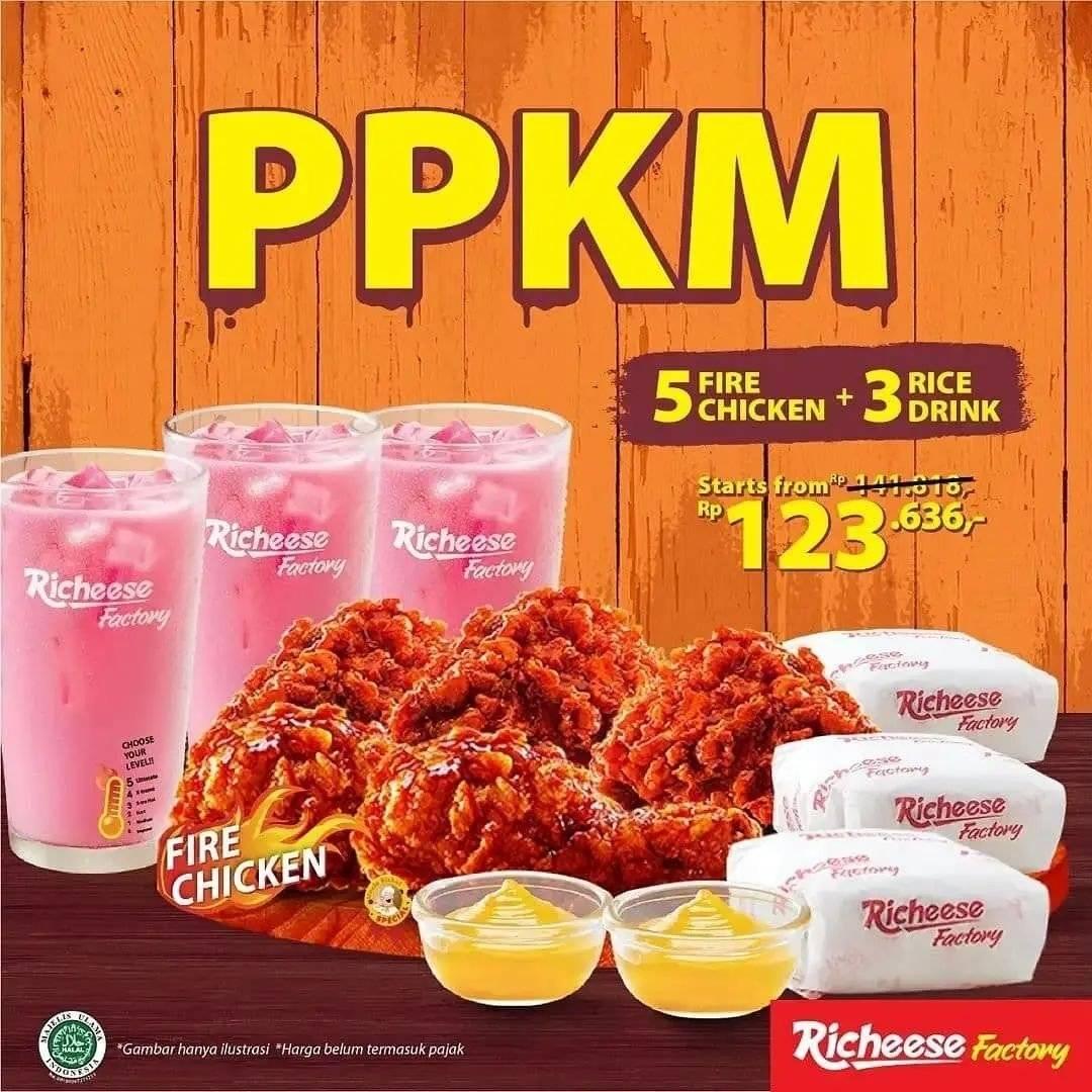 Diskon Promo Richeese PPKM 5 Chicken + 3 Drinks Rp 123k