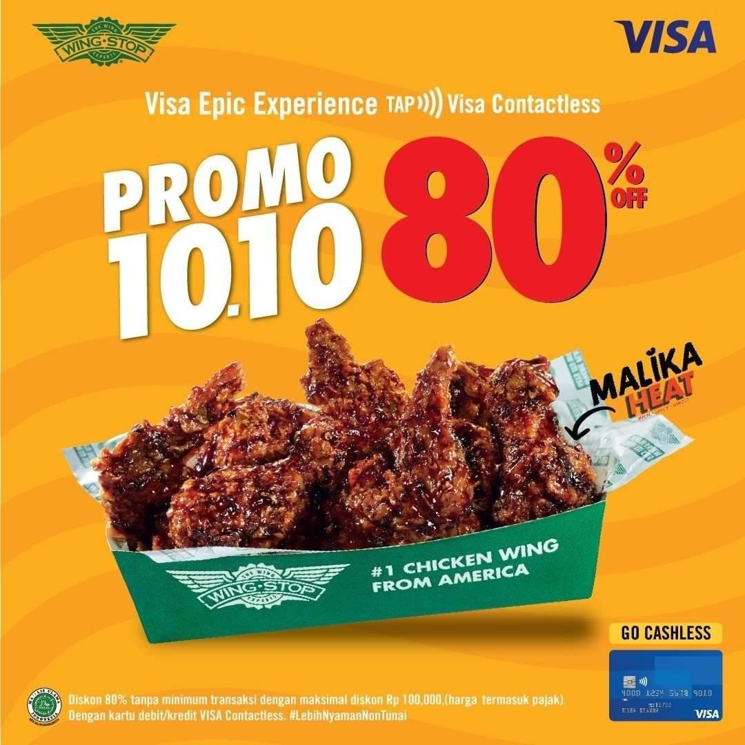 Diskon Wingstop Promo 10.10 Diskon 80% dengan VISA Contactless