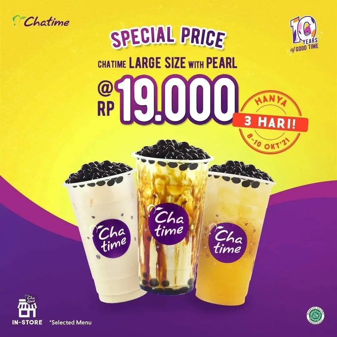 Diskon Promo Chatime 10.10 Large Size dengan Pearl Hanya Rp 19.000