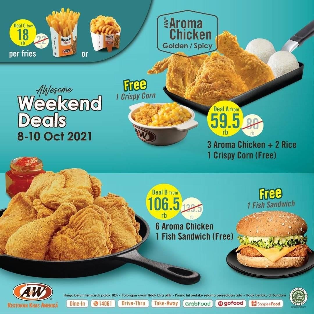 Diskon A&W Promo Awesome Weekend Deals Periode 1 - 3 Oktober 2021