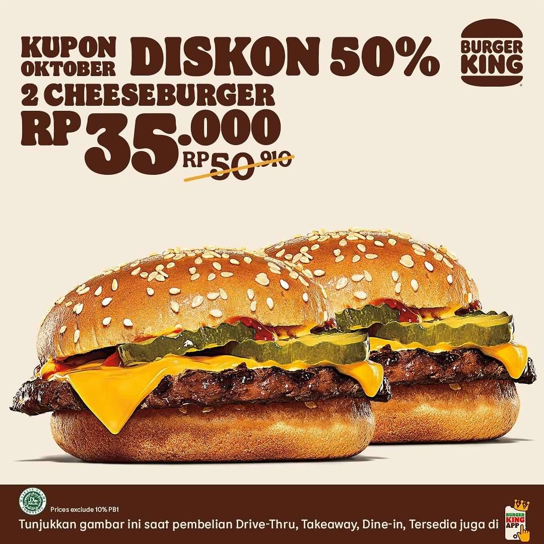 Promo diskon KUPON BURGER KING promo bulan Oktober 2021