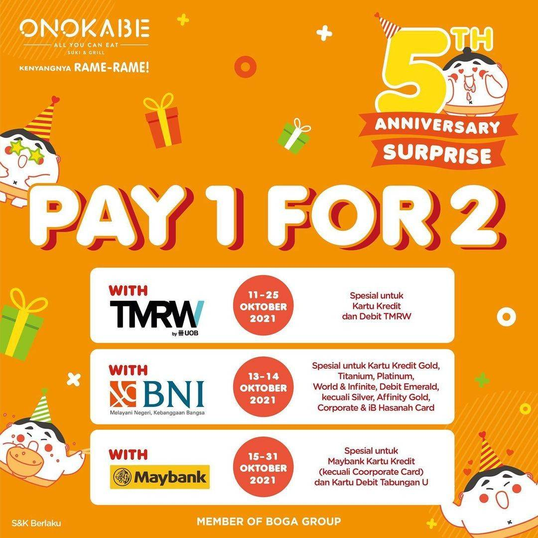 Diskon Promo Onokabe Pay 1 For 2 dengan Kartu TMRW, BNI, Maybank