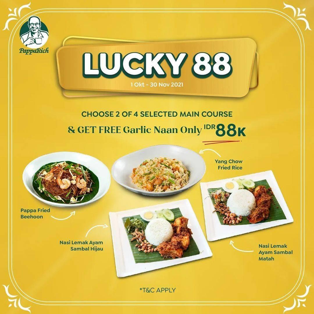 Diskon Promo Pappa Rich Lucky 88 2 Main Course Hanya Rp 88K + GRATIS Naan