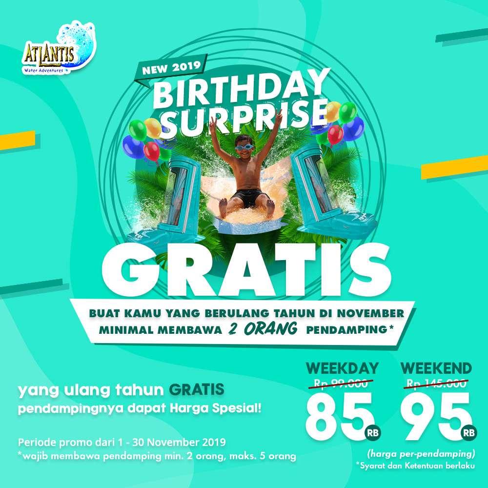 Atlantis Promo Spesial Birthday Suprise Gratis buat yang ultah di bulan November