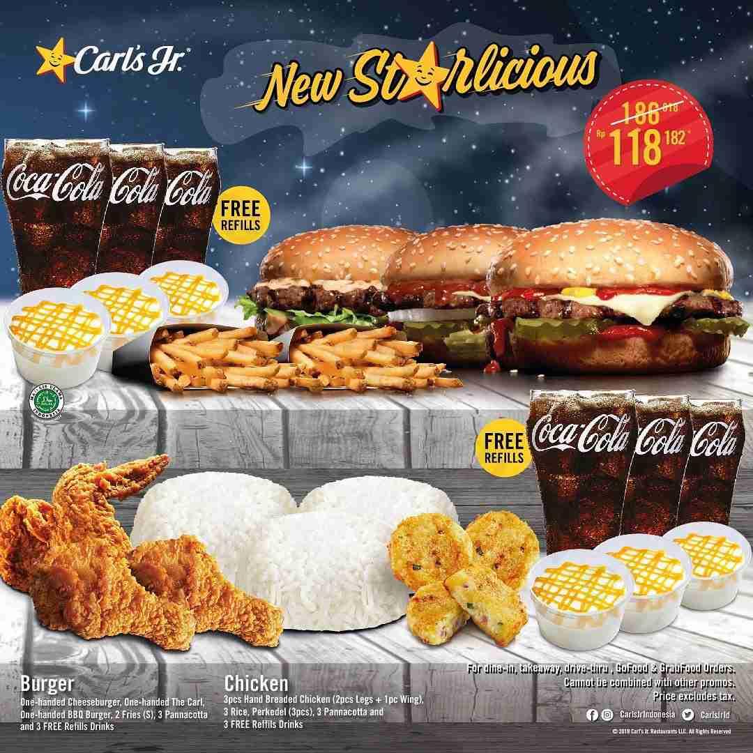 Carls Jr Promo Starlicious special offer Paket Lengkap untuk BerTiga mulai Rp. 118.182 per paket