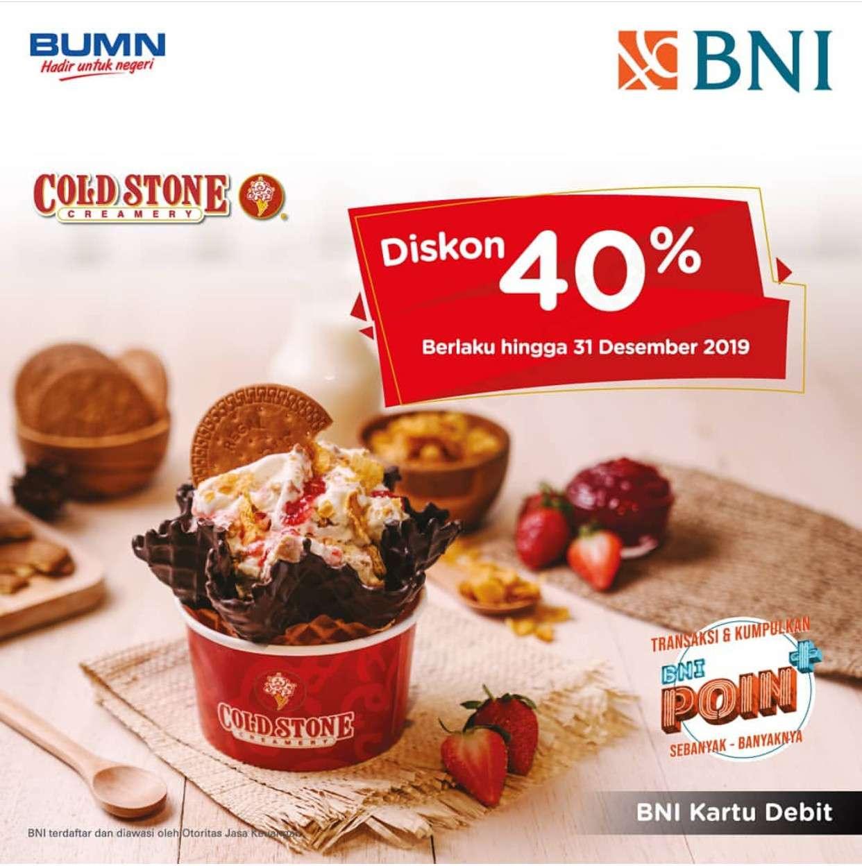 Cold Stone Creamery Promo Diskon 40% setiap hari dengan Kartu Debit BNI