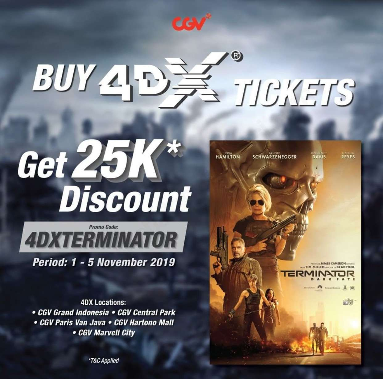 Diskon CGV Promo Terminator Dark Fate di 4DX Diskon Rp 25,000