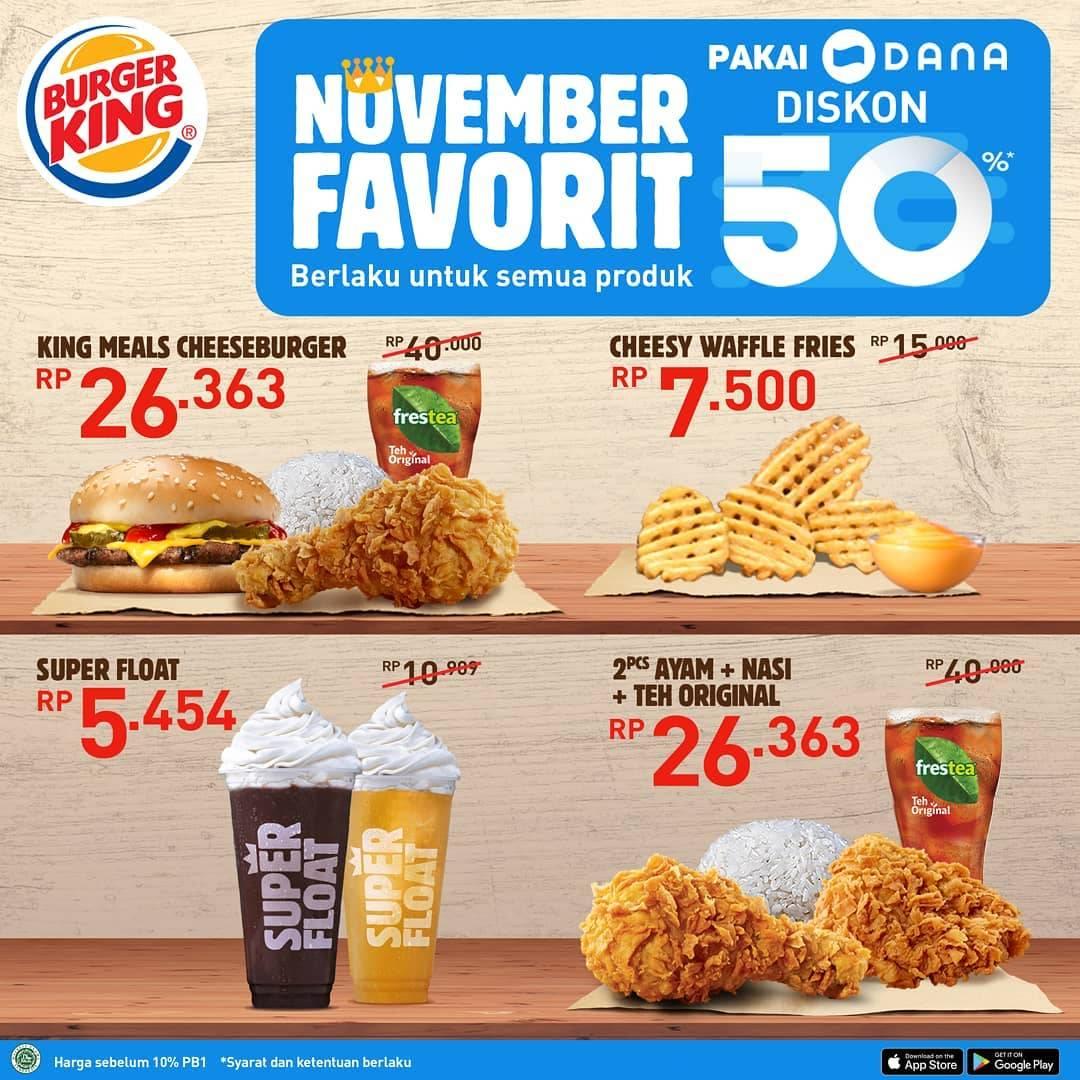 Diskon Burger King Promo Cashback 50% pakai DANA