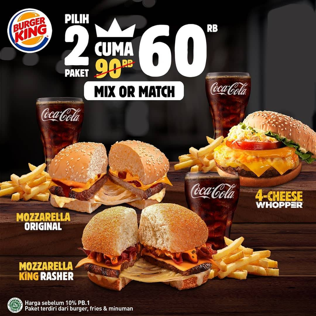 Burger King Promo Mix and Match Jr Meal Beli 2 paket cuma Rp. 60ribu