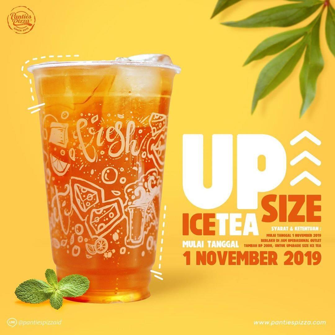 Panties Pizza Promo Upsize Ice Tea cuma Tambah Rp. 2.000 saja