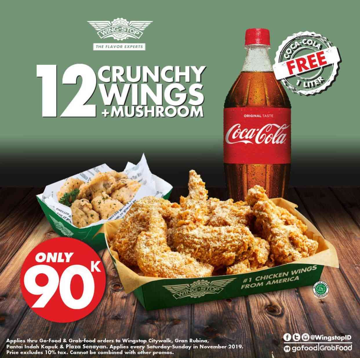 Wingstop Promo 12 Crunchy Wings + Mushroom Fritters hanya Rp. 90.000 via GoFood