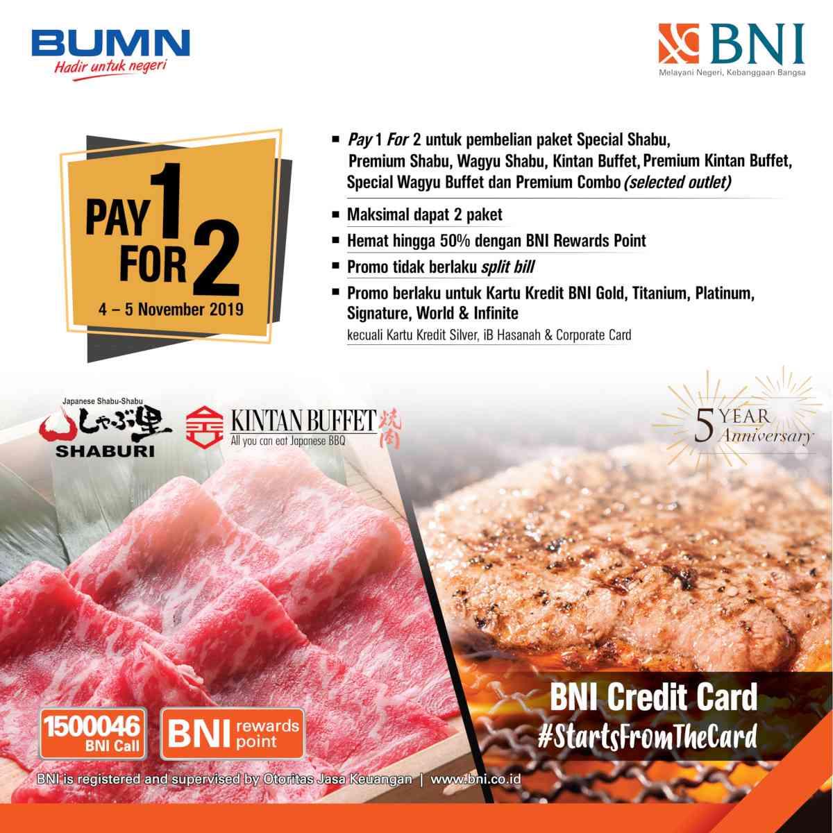 Kintan Buffet Promo Beli 1 Gratis 1 dengan Kartu Kredit BNI