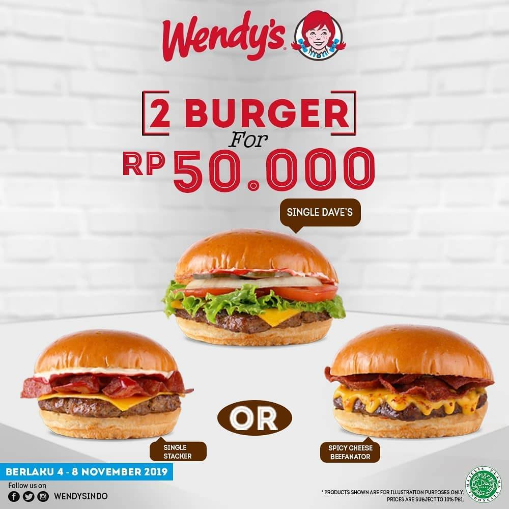Wendy's Promo Spesial Paket 2 Premium Burgers Rp. 50.000an