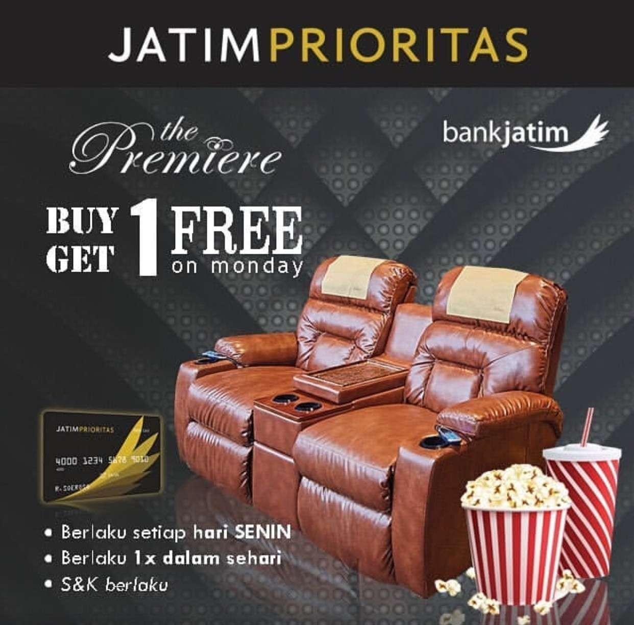 Cinema 21 atau XXI Buy 1 Get 1 Tiket Nonton The Premiere dengan kartu Jatim Prioritas