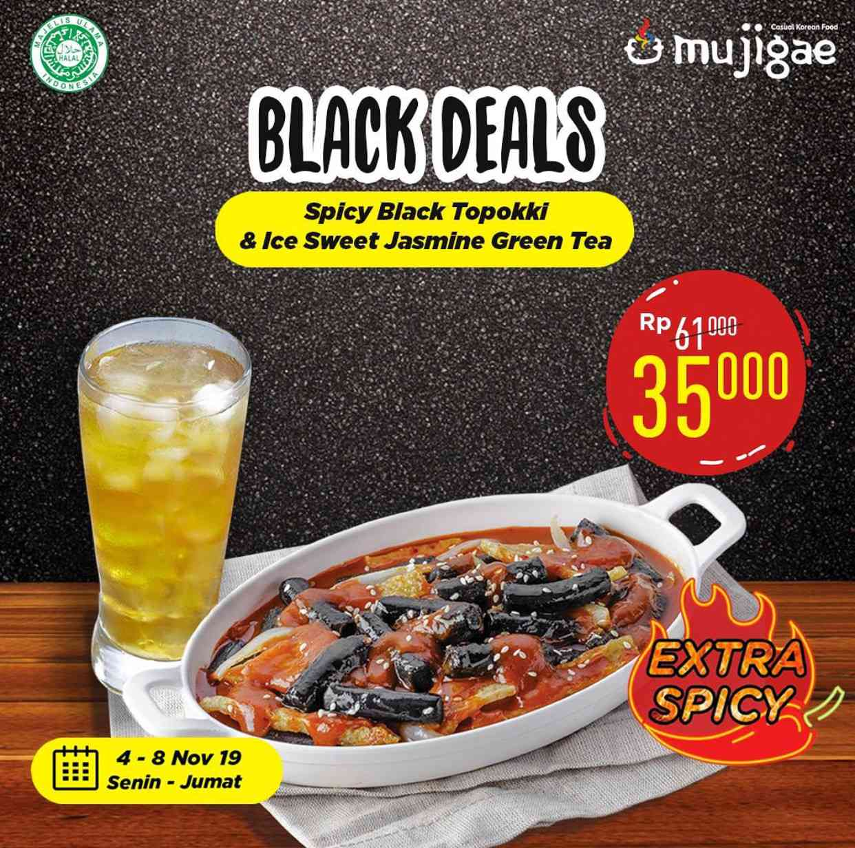 Mujigae Promo Black Deals Spicy Black Topokki hanya Rp 35.000
