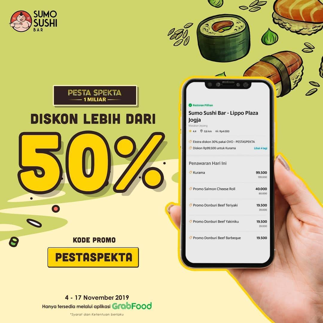Sumo Sushi Bar Promo Diskon 50% Melalui Aplikasi GrabFood
