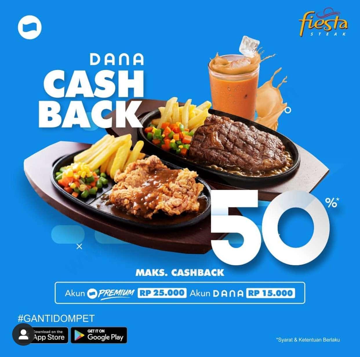 Diskon Fiesta Steak Promo Cashback 50% dengan DANA