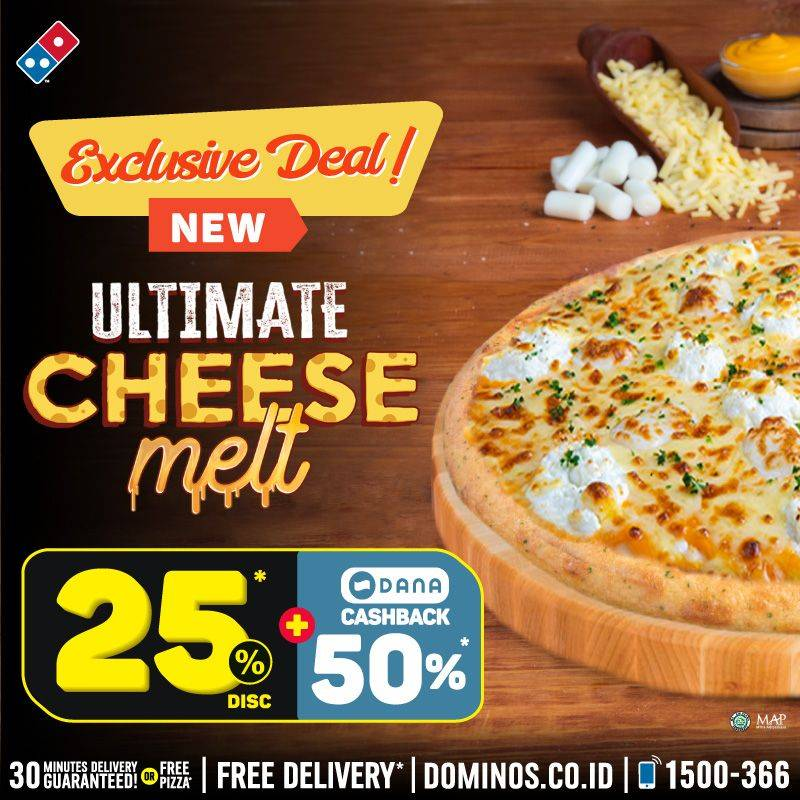 Diskon Domino's Pizza Ultimate Cheese Melt Pizza Diskon 25%