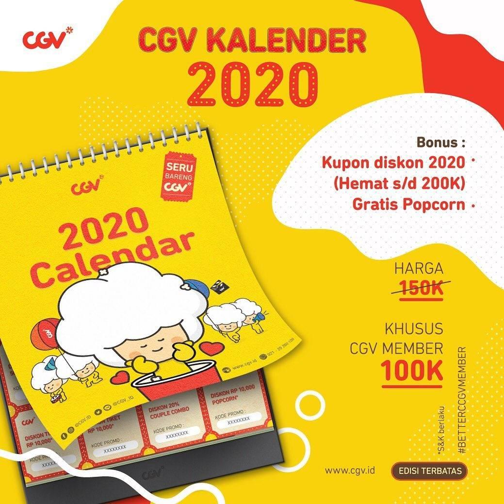 CGV Promo Kalender CGV tahun 2020 dengan kupon diskon di dalamnya